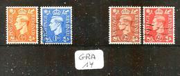 GRA YT 251a+252b+254b+255b En Obl Filigrane Inversé - 1902-1951 (Re)