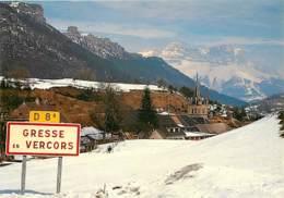 38 - Gresse En Vercors - L'entrée Du Village Sous La Neige - Panneau De Signalisation D'agglomération - Hiver - Neige - - Autres Communes