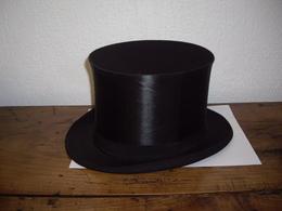 Chapeau Haut De Forme Ancien En Soie - Cylindre - Fracs - Chapeau Claque Ou Clac - Gibus - Comme Neuf - Taille 57/58 - Accessoires
