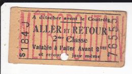 2020-3414 : TICKET DE METROPOLITAIN. ALLER ET RETOUR. 2° CLASSE.  VALABLE CE JOUR SEULEMENT - Subway