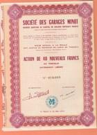 ACTION 40 NOUVEAUX FRANCS GARAGES MINOT LA BAULE LOIRE ATLANTIQUE 237 Av. DE LATTRE DE TASSIGNY DE 1960 - Actions & Titres