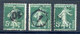 France N°137 Lot De Trois (3) Oblitération Jour De L'an - (F940) - 1906-38 Semeuse Camée