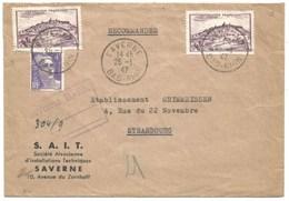 211 - SAVERNE - Janvier 1947 - REC. Provisoire Griffe Encadré 3 Lignes - Type GANDON + VEZELAY - Tarif 14 Francs - - Elsass-Lothringen