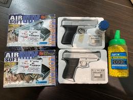 Lot De 2 Pistolets D'air Soft M38-5 LORCIN Avec Billes - Autres