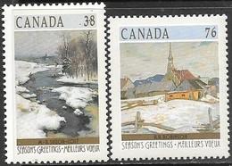Canada  1989  Sc#1256, 1258  38c & 76c Winter Art MNH  Face $1.14 - 1952-.... Elizabeth II
