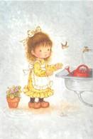 CP Signée Illustration De CONI Fillette  Remplissant Son Arrosoir. Pot De Fleur. Oiseau. - Autres Illustrateurs