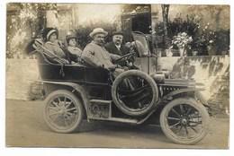 CARTE PHOTO - Voiture Décapotable...  Vers 1910 ??  Animé  (verso Restes De Collage) - Voitures De Tourisme