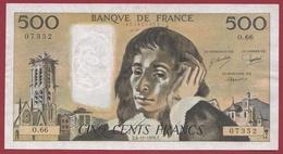 "500 Francs ""Pascal"" Du 04/11/1976.E ---TTB+--ALPH .O.66 - 1962-1997 ''Francs''"