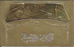 """Bonne Fête , Style Art Nouveau , Carte Gaufrée + Timbre Perforé """" EH """" ( Voir Scans ) , 1906 - Holidays & Celebrations"""