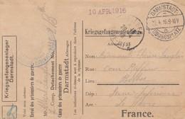 CP Obl DARMSTADT- / ÜBUNGSPLATZ Du 22.04.16 Adressée à Bolbec - Format 14,3 X 9,2 - Guerre De 1914-18