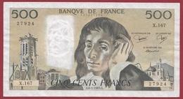 "500 Francs ""Pascal"" Du 06/01/1983.A ---TTB+--ALPH .X.167--2 TROU D EPINGLE - 1962-1997 ''Francs''"