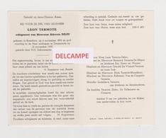 DOODSPRENTJE TERMOTE LEON ECHTGENOOT DELEU ROESELARE ZWIJNAARDE 1896 - 1959 - Andachtsbilder