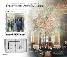 Central Africa.  2020 100th Anniversary Of The Treaty Of Versailles Taking Effect. (0103b)  OFFICIAL ISSUE - Prima Guerra Mondiale
