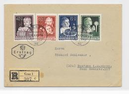 Österreich FDC MI.929-932 Reco Brief Graz 13.4.49 Nach Bautzen - FDC