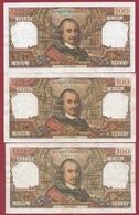 """100 Francs """"Corneille"""" 3 Billets Dans L 'état --02/02/1967----07/03/1968----03/04/1969--lot N °2 - 1962-1997 ''Francs''"""
