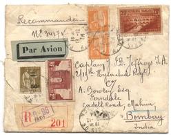 AFF Composé Dont N°262 Pont Du Gard IIB Sur Lettre à Destination De BOMBAY Du 18/12/1934 Cachets De Cire BANQUE OTTOMANE - Poste Aérienne