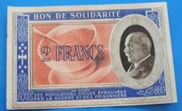 WW2 Bon De Solidarité De 2 Francs Pétain,1941 SECOURS NATIONAL,CROIX-ROUGE FRANÇAISE,COMITÉ NATIONAL D'ENTR'AIDE AUX Pri - Other