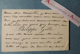 CDV Philippe GILLE Journaliste Librettisted'opéra- Ami Intime De Jules Verne - Carte De Visite Autographe > Ministre - Autogramme & Autographen