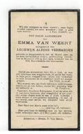DP EMMA VAN WEERT,geboren Begijnendijk 1900,echtgen. V LODEWIJK ALF.VERHAEGEN,gestorven Booischot 1929 - Religión & Esoterismo