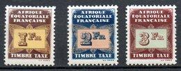 A.E.F.. Timbres-taxe N°9-11 De 1937. - A.E.F. (1936-1958)