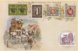 Postkarte, Die Ersten Briefm. Der Schweiz Journée Du Timbre In 2072 St. Blaise  Mit Mi: 1185 + 1108 / Zu: 643 + 602. - Suisse