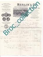 Vierzon, Merlin & Cie, Constructeurs-mécaniciens, Machines Agricoles, à Vapeur, à Battre, Facture Illustrée 1898 - 1800 – 1899