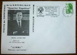 Oblitération Poste Aux Armées BPM 600 Flamme Mitterrand Sur Enveloppe Illustrée - Visite De Mitterrand à Berlin - Marcophilie (Lettres)