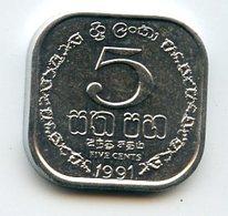 Sri Lanka 5 Cents 1991 - Sri Lanka