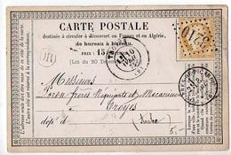 Cérès N° 55 Sur Carte Précurseur De Troyes De 1875 - Storia Postale
