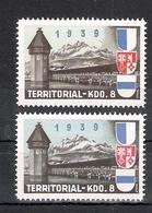 Schweiz Soldatenmarken Territorial-Truppen Territorial-Kdo. 8 ** Unterschiedliche Farben Luzern Zug Unterwalden - Vignettes