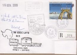 TAAF PLI TERRE ADELIE. TP 458 Obl. 12 12 2009 Concordia Visite Du Prince Albert 2 De Monaco Recommendé. Voir Scan. - Terres Australes Et Antarctiques Françaises (TAAF)