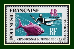 Polynésie N° PA 29 ** MNH (cote 52 €) Poisson Fish 1969 (cote 52 €) Championnat Du Monde De Chasse Sous Marine - Neufs