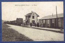 CPA AISNE (02) - BUCY-LE-LONG - LA GARE - TRAIN TRAMWAY - LIGNE DE SOISSONS A RETHEL - Autres Communes