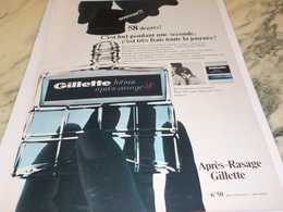 ANCIENNE PUBLICITE APRES RASAGE  GILLETTE  1966 - Profumi & Bellezza
