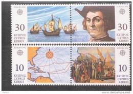 CEPT 500 Jahre Entdeckung Amerikas Zypern 790 - 793 / MNH ** - 1992