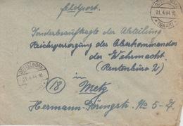 Lettre Obl Göttelborn *(Saar)* En Franchise Le 21/4/44 + Au Dos Cachet Gemeinschaftslager Göttelborn-Saar - Deutschland