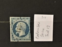 03 - 20 //  France N° 14 Oblitéré PC 911 - Colombes - Seine  - Indice 13 - 1853-1860 Napoleone III