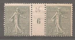15c Millésimes 6 - Semeuse 130* - 1903-60 Semeuse Lignée