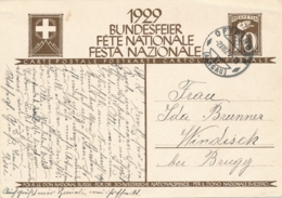 Helvetia / Schweiz - 1929 - 10 (+20) Cts Bundesfeier Postkarte - Soldier - From Oftringen To Windisch - Ganzsachen