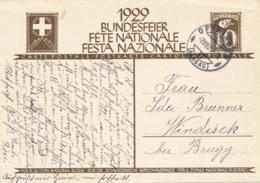 Helvetia / Schweiz - 1929 - 10 (+20) Cts Bundesfeier Postkarte - Soldier - From Oftringen To Windisch - Enteros Postales
