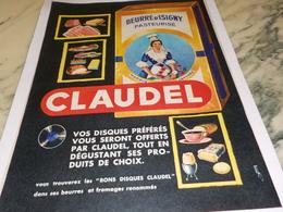 ANCIENNE  PUBLICITE  BEURRE CLAUDEL 1961 - Affiches