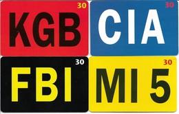 """KGB - CIA - FBI - MI5."" 4 Phonecards Denmark.  H-1023 - Politie"