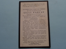 DP > Melle Cécile PAQUAY () Vielsalm 16 Nov 1872 - 25 Oct 1912 ( Zie Foto's ) ! - Todesanzeige