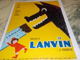 ANCIENNE PUBLICITE CHOCOLAT A CROQUER  LANVIN  1961 - Affiches