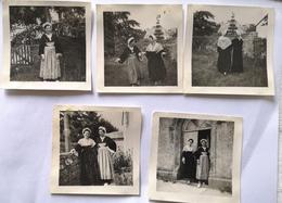 Lot 5 Photos Photographie Ancienne - Photo Folklore Breton Bretagne Coiffe Costume - Anonymous Persons