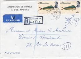 ILE MAURICE  : Lettre à Entête De L'Ambassade De France En Recommandé De Port-Louis - Maurice (1968-...)