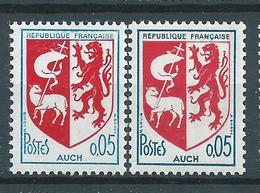 [32] Variété :  N° 1468 Blason D'Auch Bleu Clair Au Lieu De Bleu Foncé + Normal ** - Varieties: 1960-69 Mint/hinged