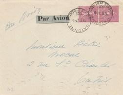 PAIRE SEMEUSE 75C YT 202 SUR LETTRE AVION AU TARIF BAYONNE 27/5/32 POUR LA TUNISIE - Marcophilie (Lettres)
