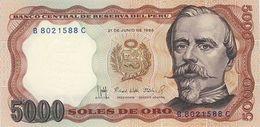 Billet Perou 5000 Soles De Oro - Pérou