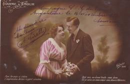 "16. ANGOULÊME. CARTE FANTAISIE . CPA. COUPLE  "" CHARME D'AMOUR "" + TEXTE MILITARIA DU 14 NOVEMBRE 1917 - Guerre 1914-18"